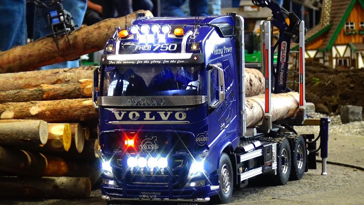 HOW TO LOAD A WOOD RC SCALE VOLVO 750 TRUCK WITH CRANE AND LIGHTS