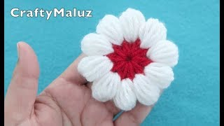 (CROCHET TUTORIAL) FLOR TEJIDA EN PUNTO PUFF | flor a crochet en punto puff