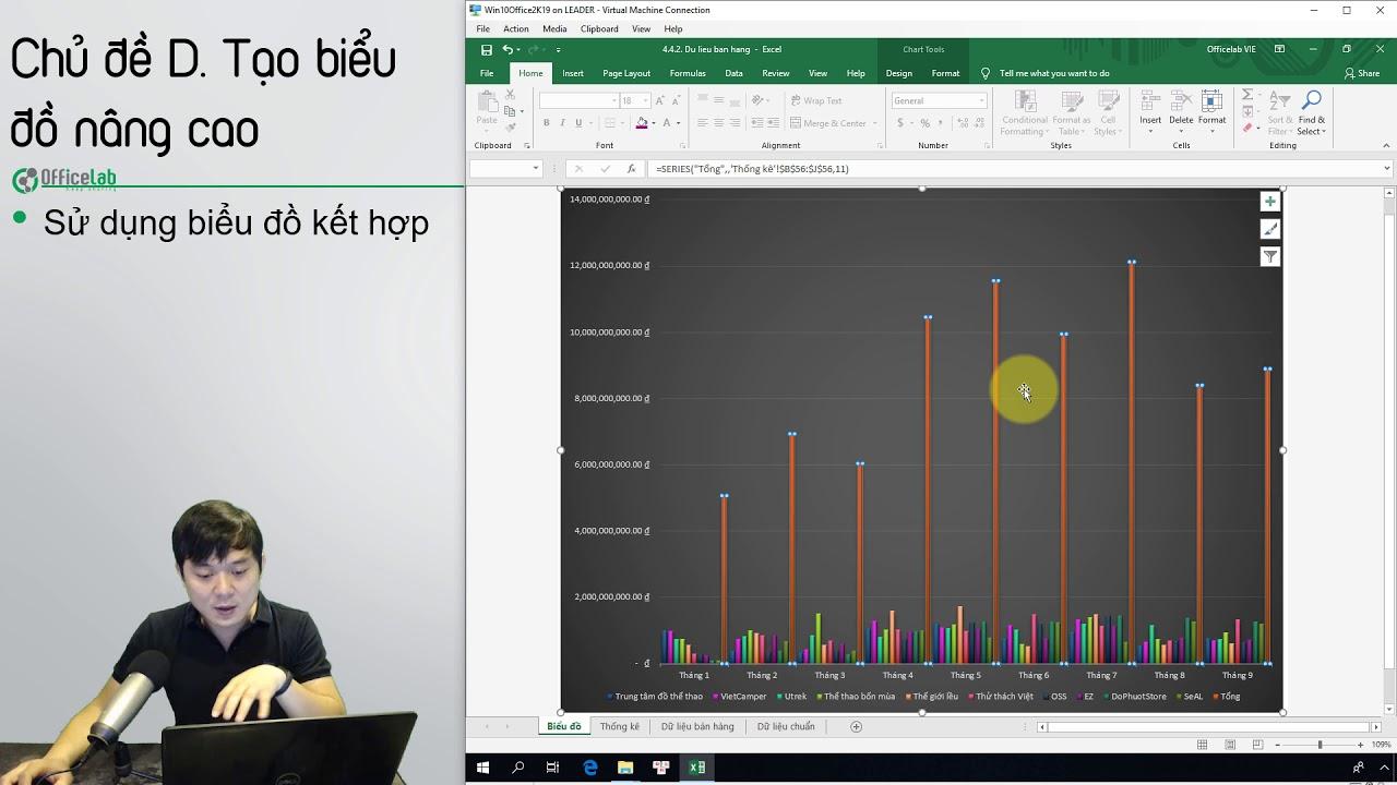 Học Excel 2: 4.4.2. Vẽ biểu đồ kết hợp
