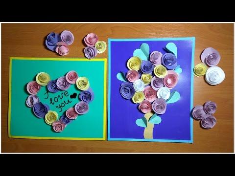 DIY! 3Д Объемная открытка с цветами розочками на любой праздник! 3D Handmade Postcard Flowers Roses!