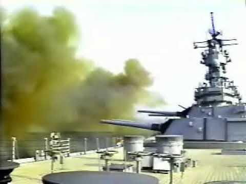 "USS Wisconsin Final 16"" Turret Firing"
