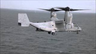 Osprey Tilt Rotor Aircraft - Lands On Japanese Ship Hyuga