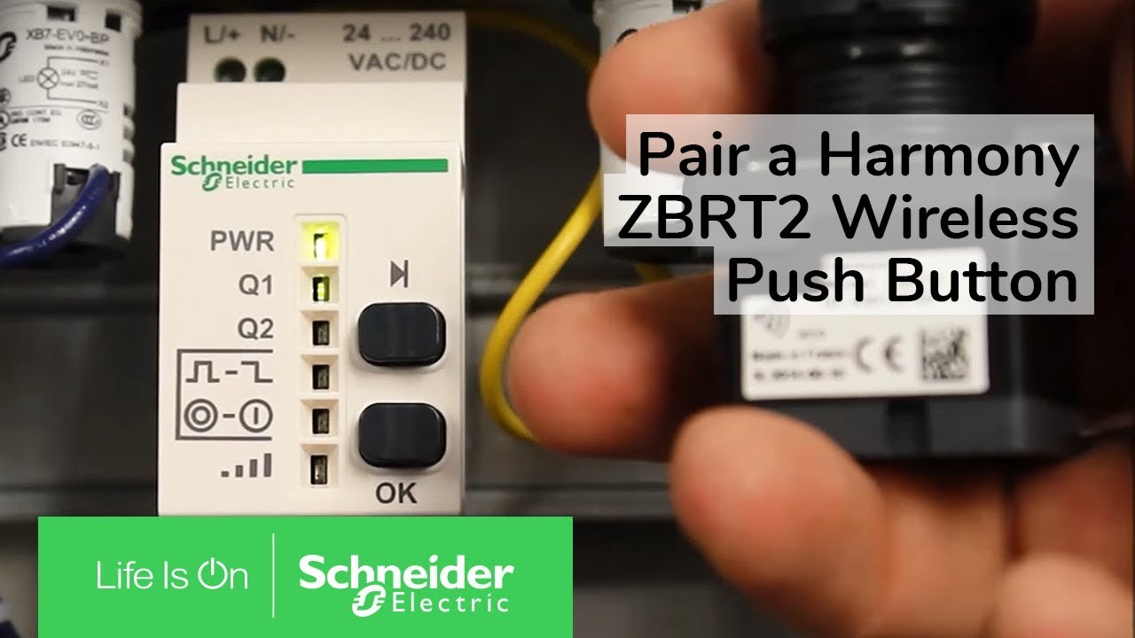 pairing a harmony zbrt2 wireless push button to a receiver schneider electric support youtube [ 1280 x 720 Pixel ]