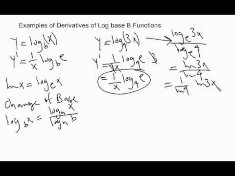 Examples of Derivatives of Log base B functions - YouTube