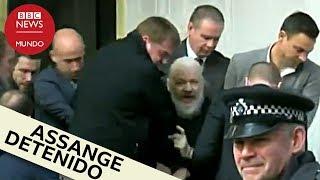 El momento del arresto de Julian Assange en la embajada de Ecuador en Londres
