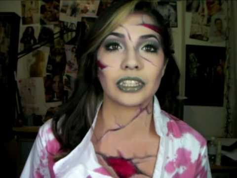Halloween Makeup Video! Zombie Nurse Mrs. Frankenstein? - YouTube
