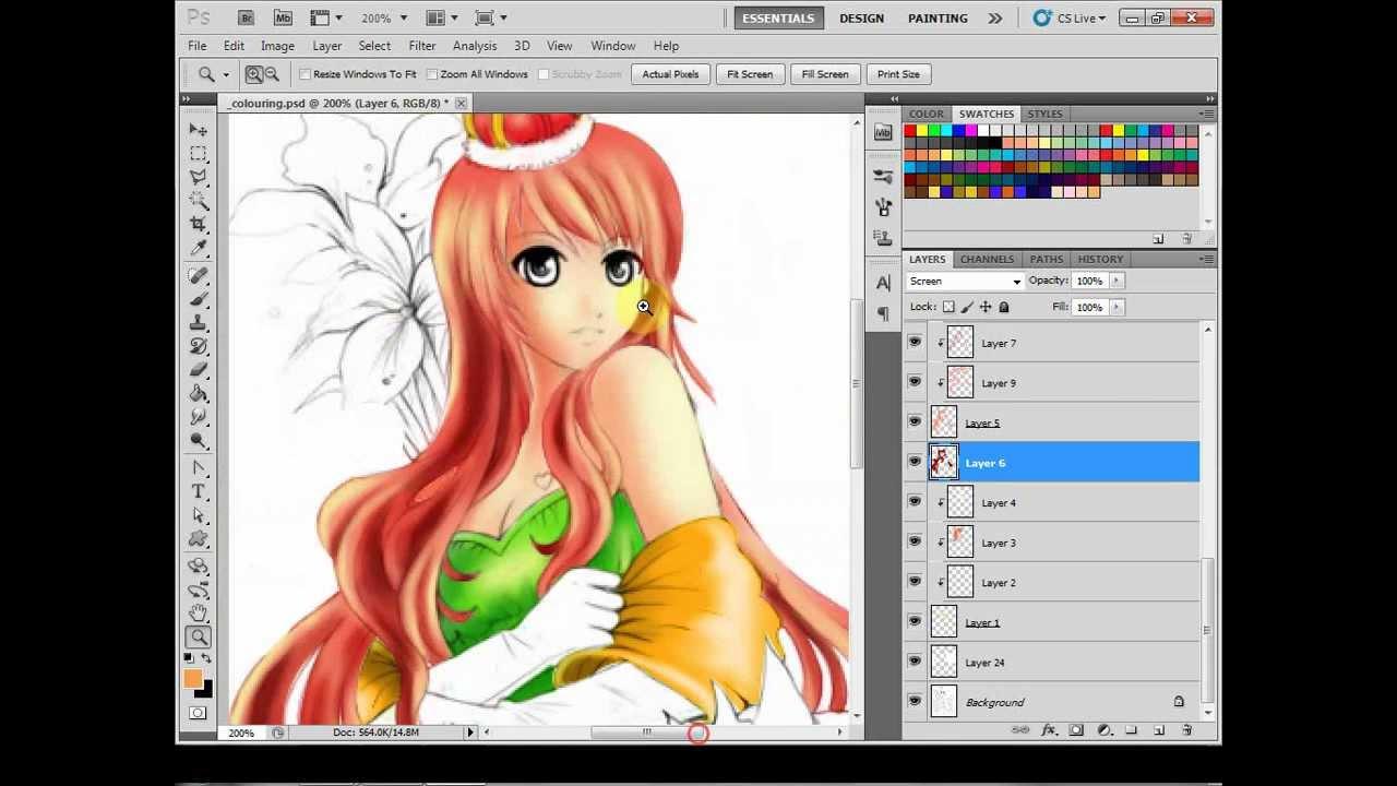 photoshop cs5 manga coloring - youtube
