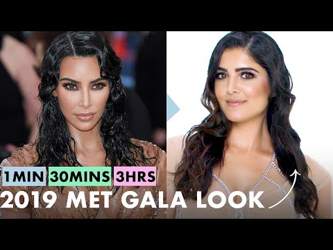 Getting Kim Kardashian West's Look in 1 Minute, 30 Minutes, and 3 Hours - Makeup Challenge | Allure