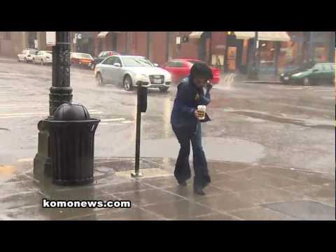 Downtown Seattle Rain Storm- KOMO TV