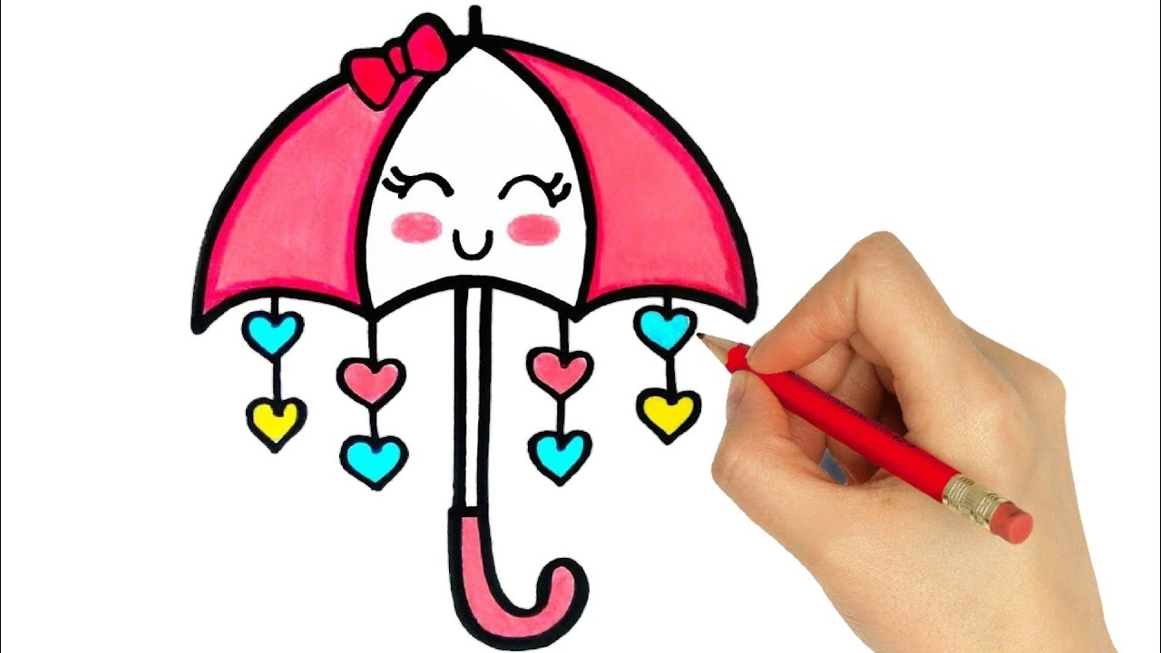 How To Draw A Cute Umbrella Kawaii Youtube