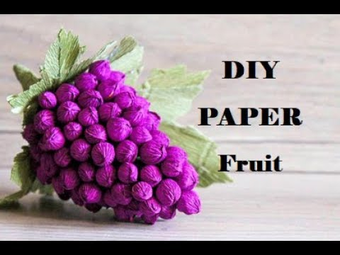 How to make crepe paper decorations. Paper fruit making. Paper fruit craft. Paper fruit Grapes.