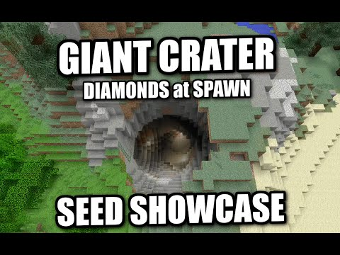 Minecraft Giant Crater Scary Diamonds Seed Showcase Xbox Mcpe Ps4 Ps3 Switch Youtube