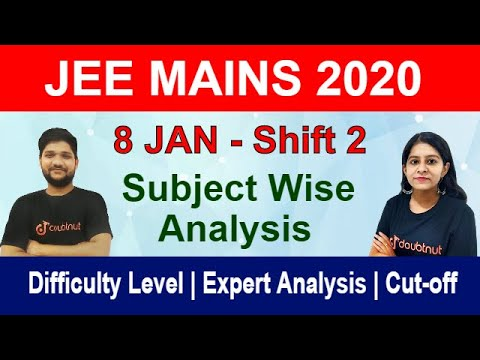 JEE MAIN 2020 - 8 Jan Shift 2 | Subject Wise Paper Analysis |Memory Based Question |Difficulty Level