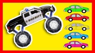 Sheriff Monster Truck - Learning Colors with Monster Trucks