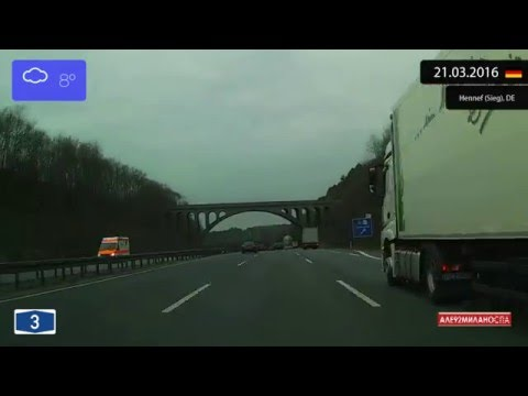 Driving from Frankfurt am Main to Köln (Germany) 21.03.2016 Timelapse x4