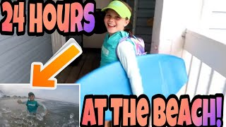 24 Hours on The Beach! 24 Hour Challenge With My Mom!