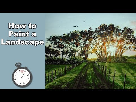How to Paint Sunset Trees in Acrylic Time Lapse