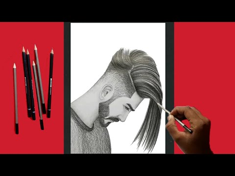 How To Draw A Sketch Of boys Beautiful Hair Style|Step By Step