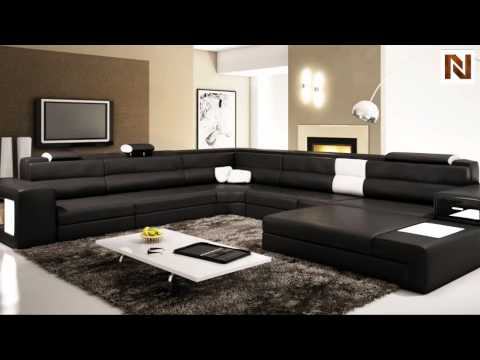 Model: Polaris (5022)   Black Contemporary Leather Sectional Sofa  VGEV5022 2 From VIG Furniture