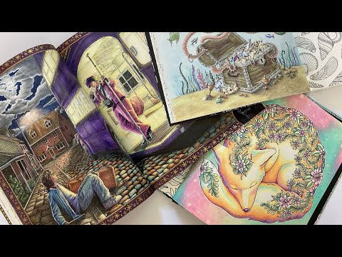 Flip-through Of Completed Coloring Pages And WIPs