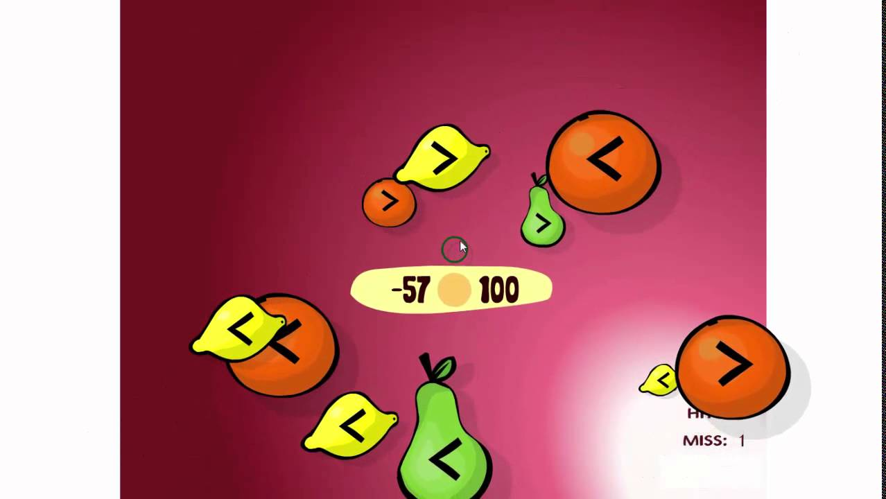 Fruit shoot game - Cool Math Games For Kids Learn About Compare Integers With Fruit Shoot