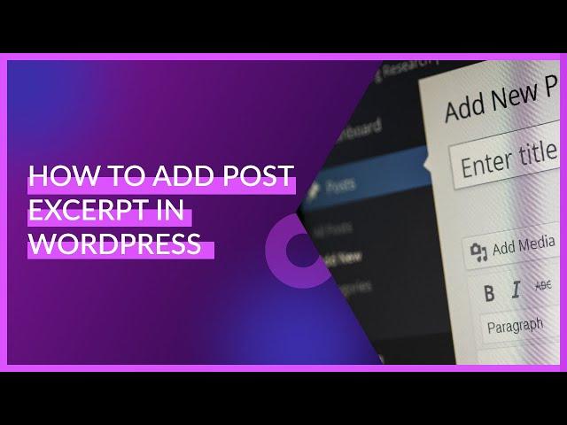 How To Add Post Excerpt In WordPress   WordPress Tutorials