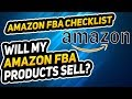 AMAZON FBA CHECKLIST - WILL MY PRODUCT SELL?!?