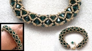 Netted beaded bracelet with 6mm Swarovski and seedbeads beading tutorial