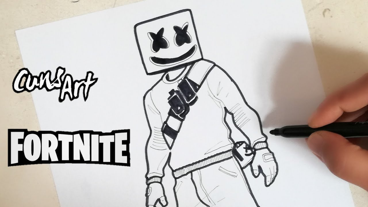 Como Dibujar A Marshmello Fortnite How To Draw Marshmello
