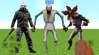 Jason vs SCP-096 vs Stranger Things Demogorgon in Minecraft PE