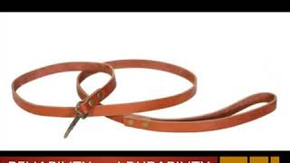 """Leather leash for dog 6f * 3/4"""" of cognac color is designed for daily walking"""
