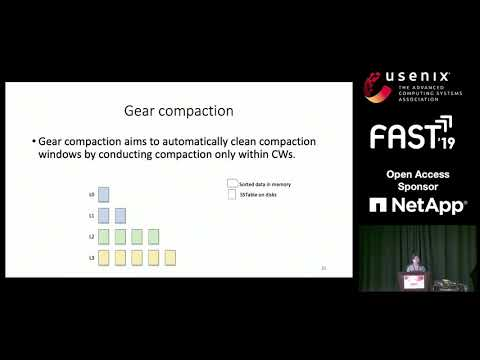 FAST '19 - GearDB: A GC-free Key-Value Store on HM-SMR Drives with Gear Compaction
