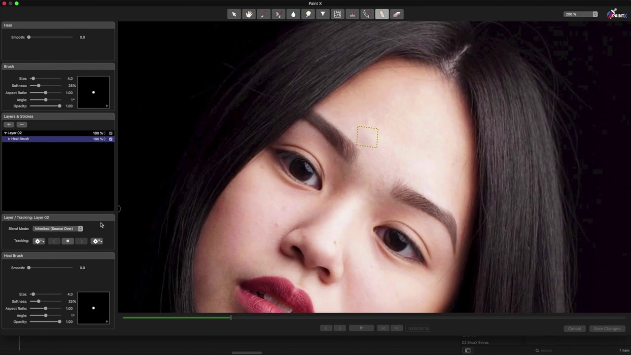 PaintX 7 Using the heal brush to hide blemishes or spots in FCP X