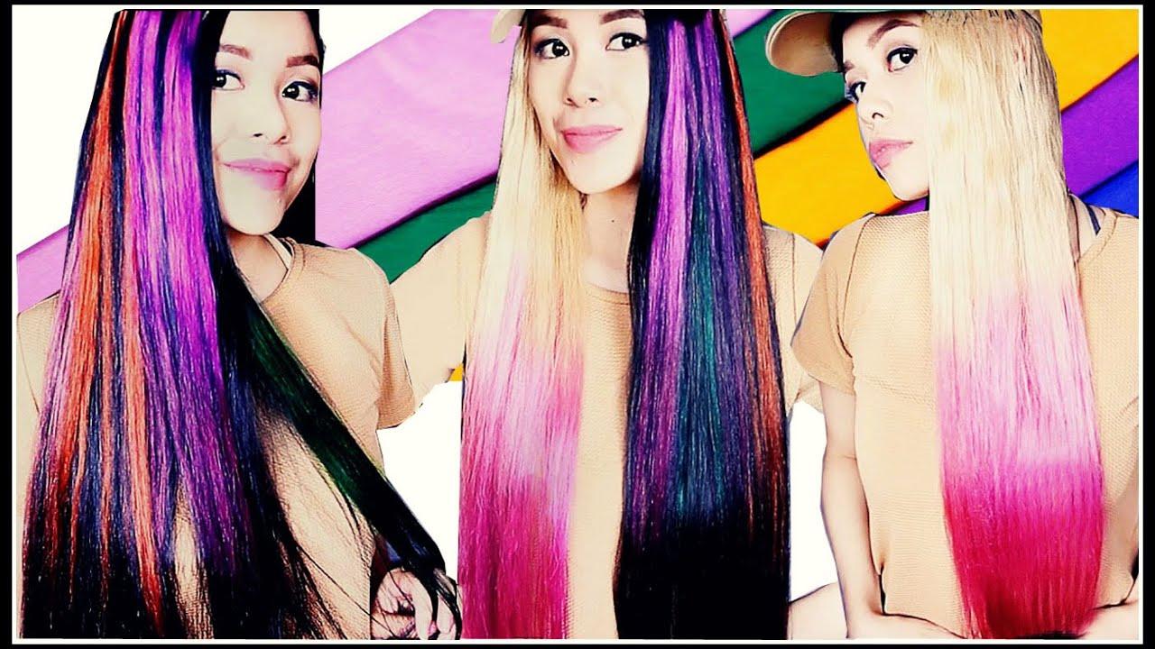 DIY Temporary Highlights & Dip Dye Hair Color Using Crepe Paper ...
