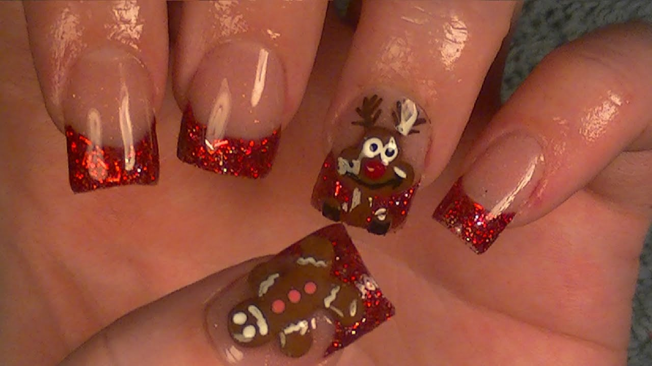 christmas acrylic nails gingerbread man reindeer youtube