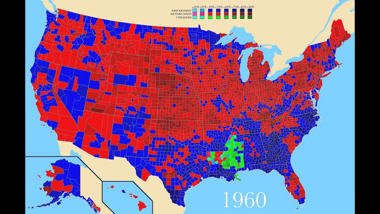 Years TimeLapse Last United States - Us map of voting results by county