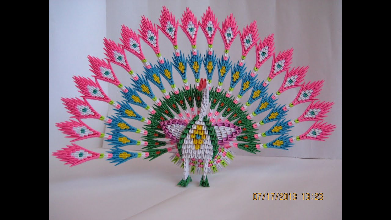 3D Origami Peacock with 19 Tails 1538 pieces - YouTube - photo#25