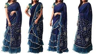 Designer 3 Layer Frill or Ruffled Saree At Home,Convert Your Old Saree In to Ruffled Saree