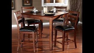 AHB Rosa 5 Piece Dining/Game Table Set with Flip Top - Mocha Sturdy wood construction