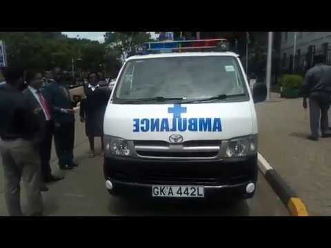 Nairobi City County Health CEC, Hitan Majevdia, receives an ambulance