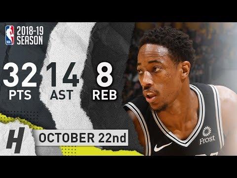 DeMar DeRozan Full Highlights Spurs vs Lakers 2018.10.22 - 32 Pts, 14 Ast, 8 Reb!