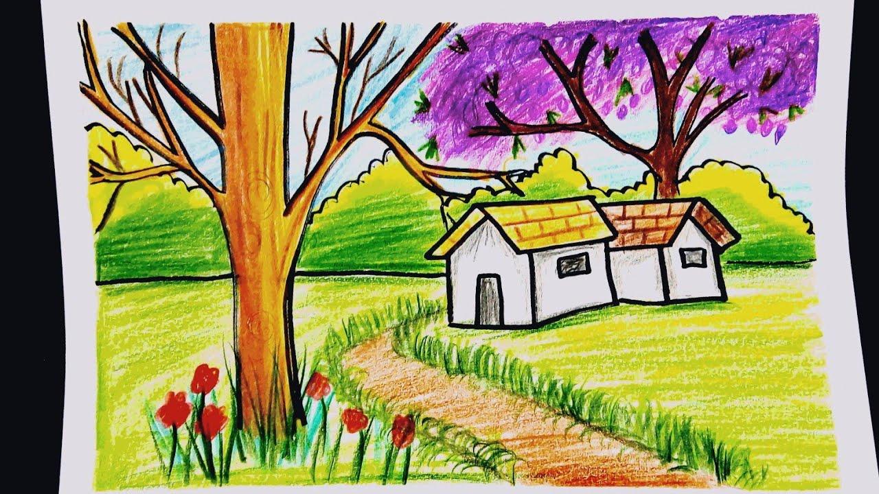 رسم منظر طبيعي بالالوان الخشبية سهل للمبتدئين خطوة بخطوة بيت