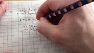 yläkoulu fysiikkaa: matka tasaisessa liikkeessä laskuesimerkki