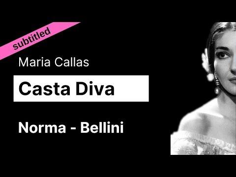 Opera Lyrics - Maria Callas ♪ Casta Diva (Norma, Bellini) ♪ English and Italian