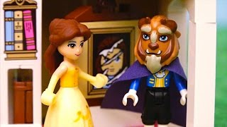 Belle is in Trouble ! Toys and Dolls Fun Playing with Beauty and the Beast Lego Set