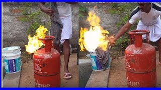 LPG Gas cylinder தீ🔥 பிடித்தால் பயப்பட வேண்டாம் ஈசியா அணைக்கலாம்| Gas cylinder fire safety tips thumbnail