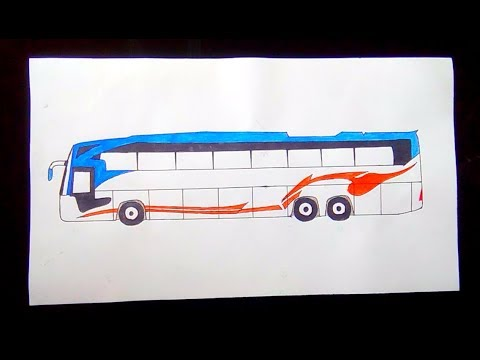 How to draw a bus step by step / drawing tutorial for beginners