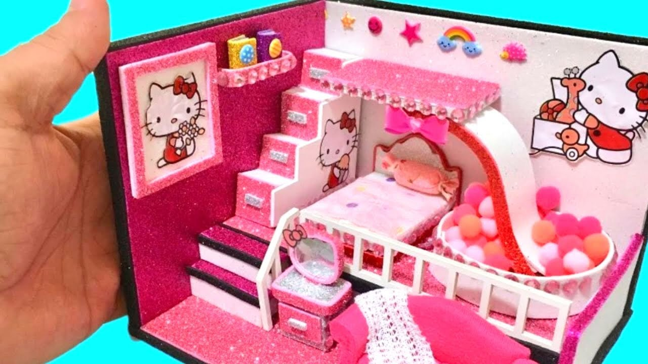 appealing hello kitty living room | DIY Miniature Hello Kitty Bedroom and living room - YouTube