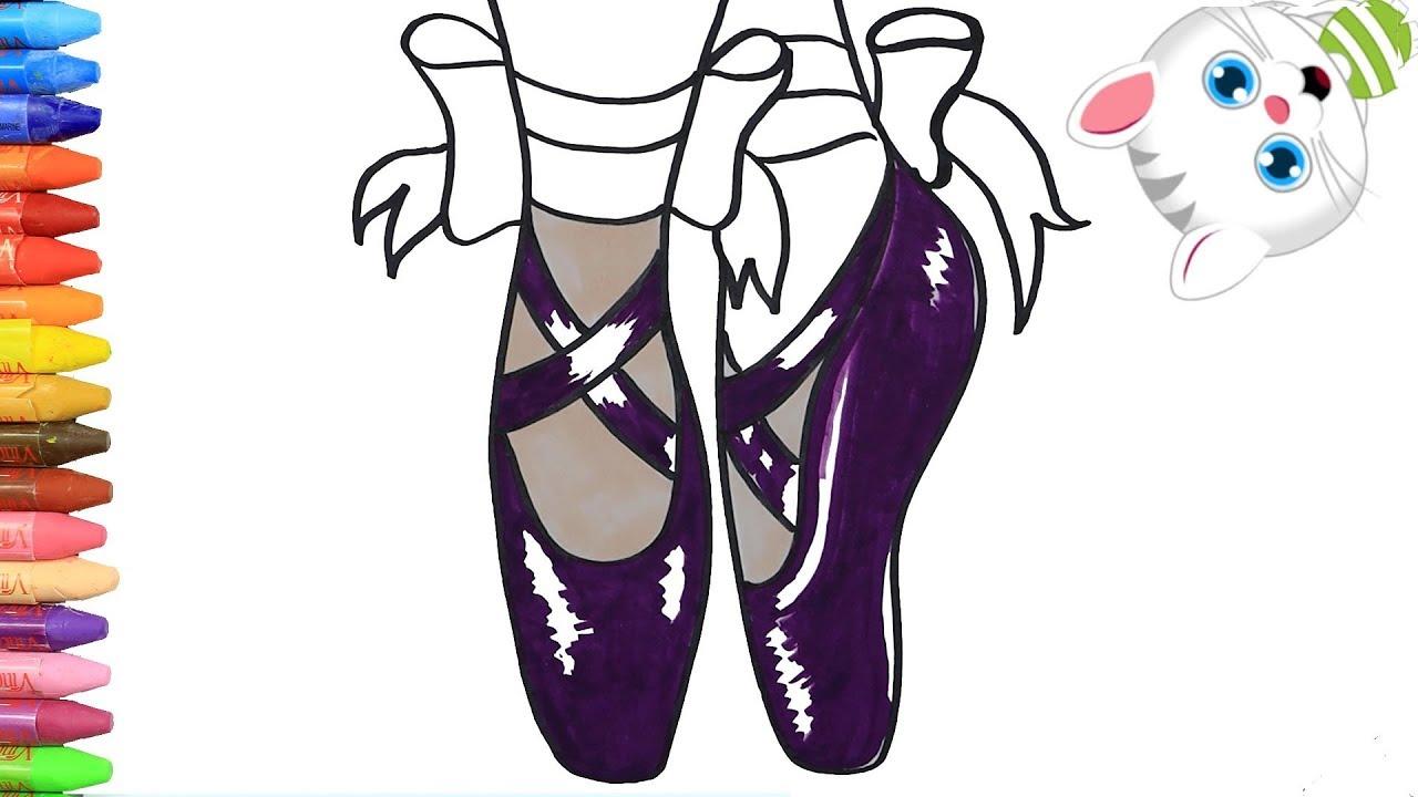 Como Dibujar Y Colorear Zapatillas De Ballet Dibujos Para Ninos