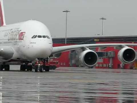 Emirates  380 in IGI AIRPORT T3.avi